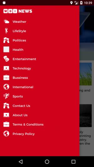 News App - Menu